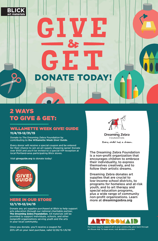 Donate to dreaming zebra the kids in the willamette for Where to donate craft supplies